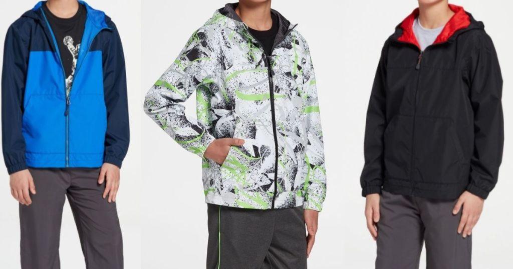 three boys wearing jackets