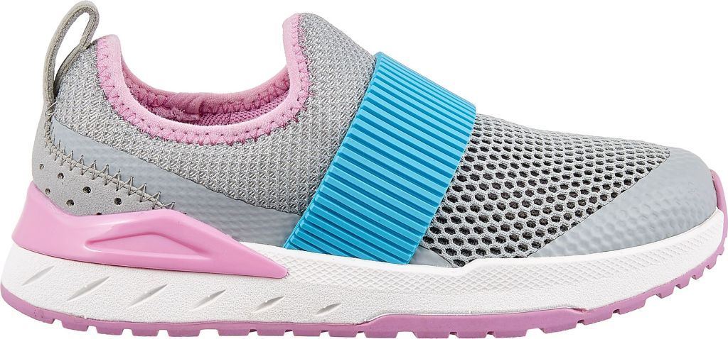 kids grey, pink and blue running shoe