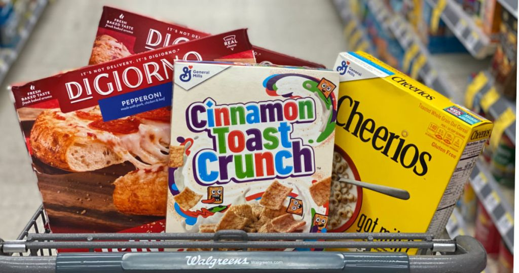 pizza and cereal in cart