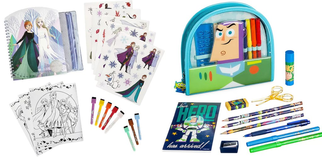 frozen coloring pages and markers and a toy story activity kit with buzz lightyear zip-up bag, pencils, and pens