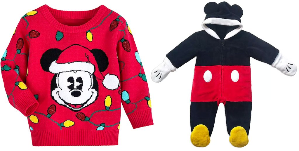 red sweater with mickey mouse in santa hat and holiday lights and a mickey mouse themed baby suit