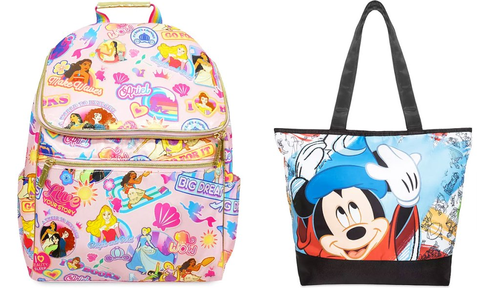 light pink and gold disney princess printed backpack and tote bag with mickey wearing magic hat