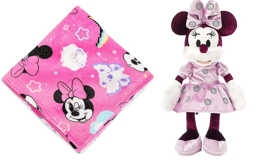 pink minnie mouse printed fleece blanket and light pink minnie mouse plush toy