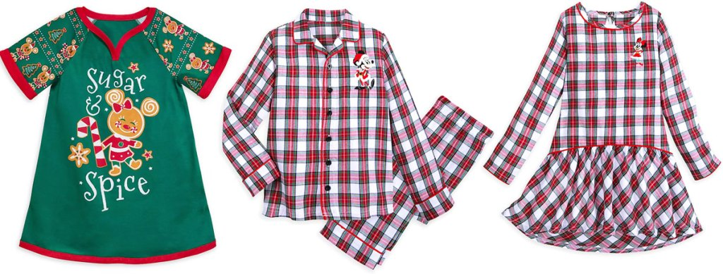 green girls gingerbread nightshirt and matching boys set and girls nightshirt pajamas in red and white plaid