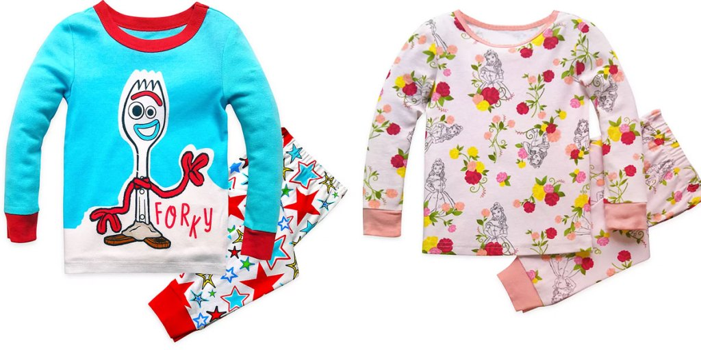 blue, white, and red set of toy story 4 forky pajamas and pink set of beauty and the beast pajamas