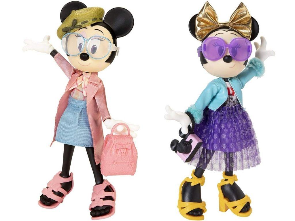 2 posed Disney Minnie Mouse Dolls