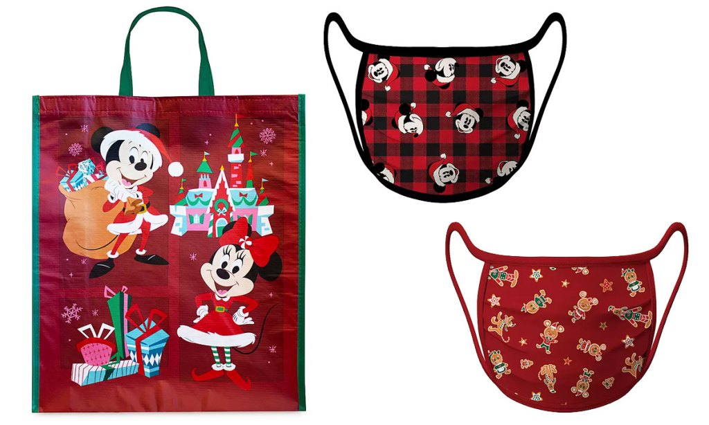 red holiday mickey and minnie reusable bag and set of holiday mickey mouse reusable face masks
