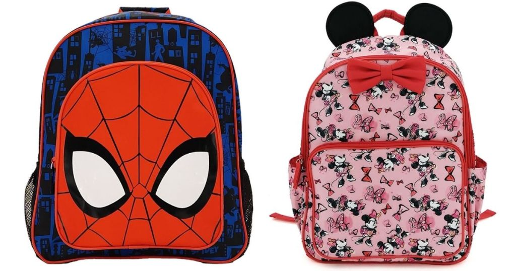 2 Disney Spiderman and Minnie Mouse Backpacks