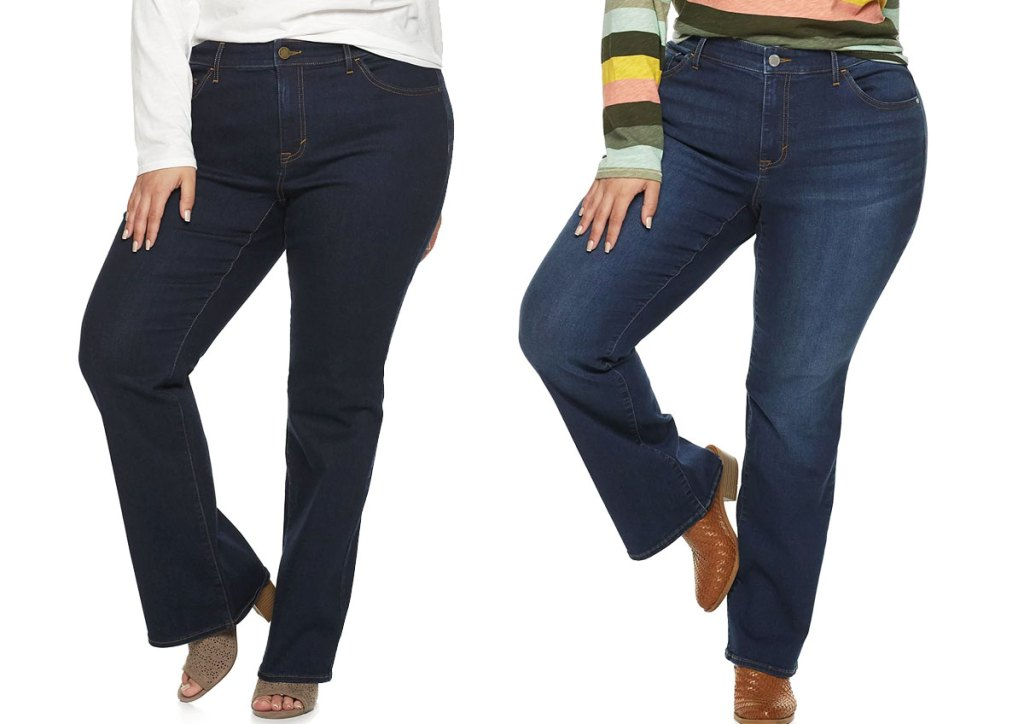 two women modeling jeans in dark washes