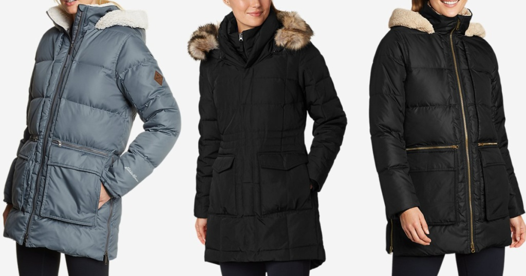 3 women wearing eddie bauer down parkas