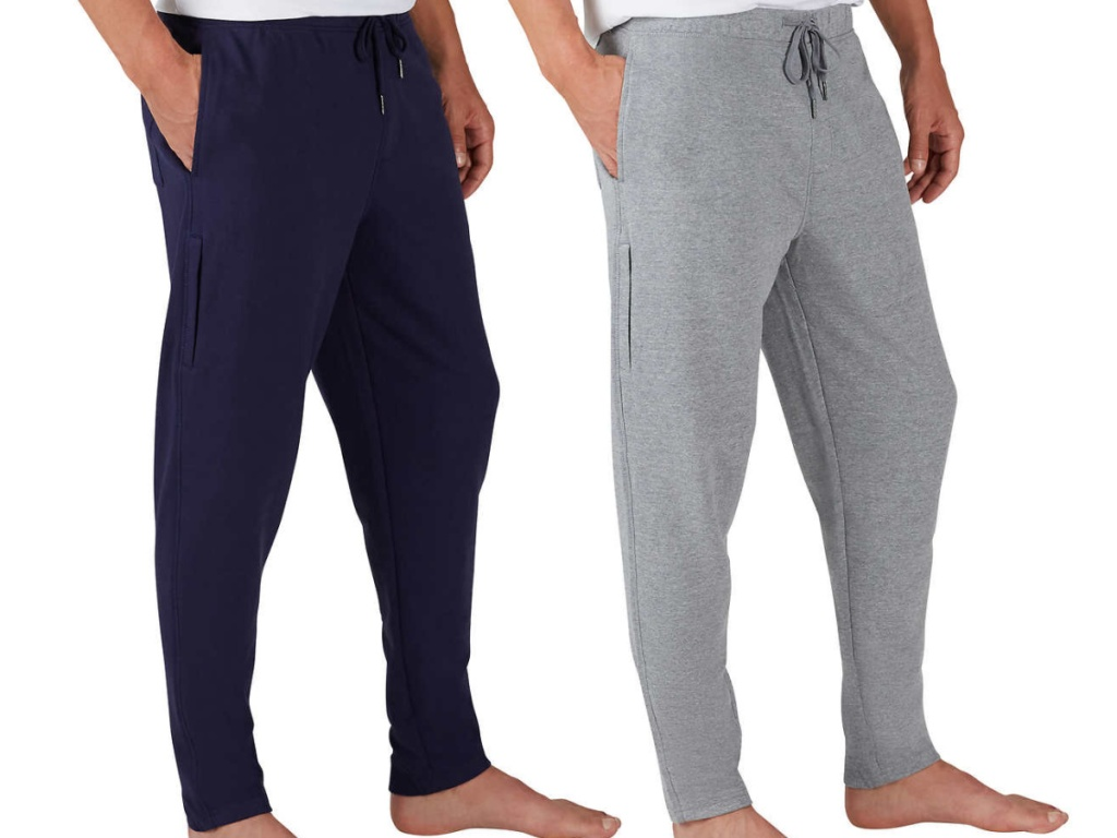 man in gray joggers and man in dark blue joggers