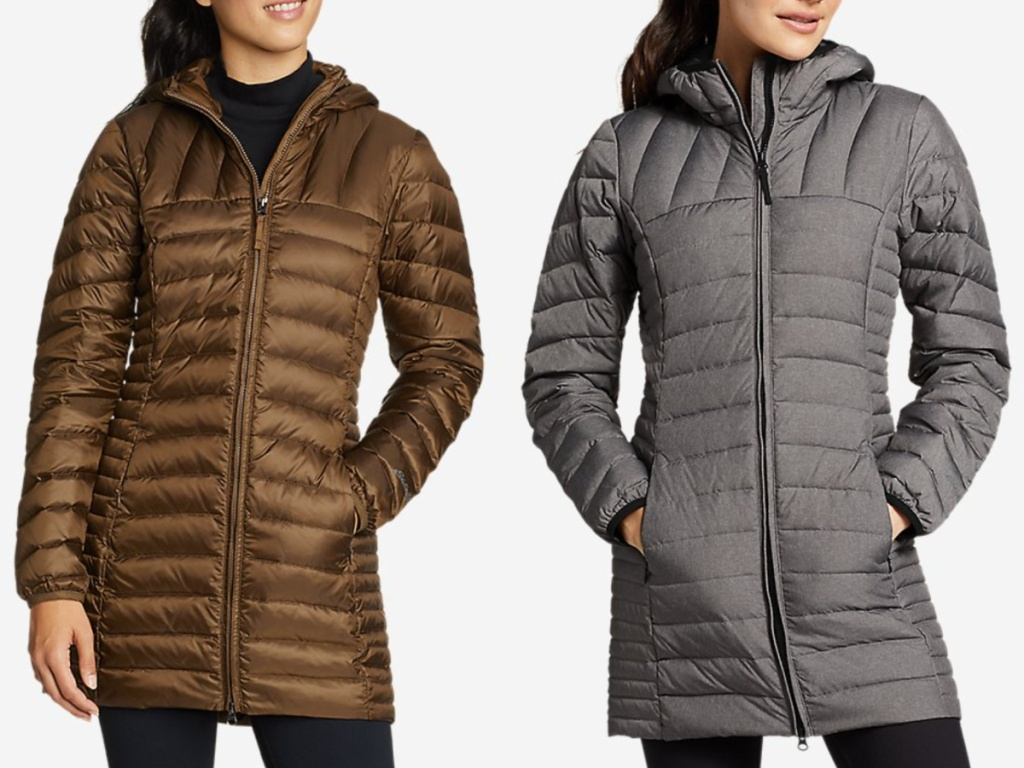 2 women wearing hooded down parkas