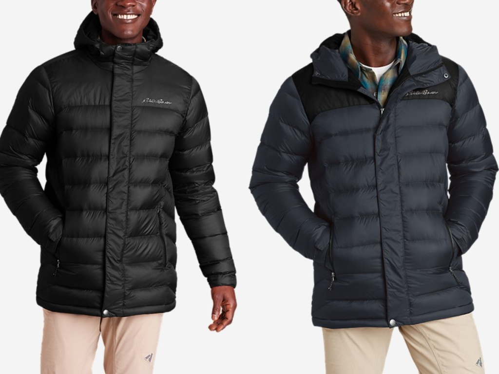 2 men wearing hooded down parkas