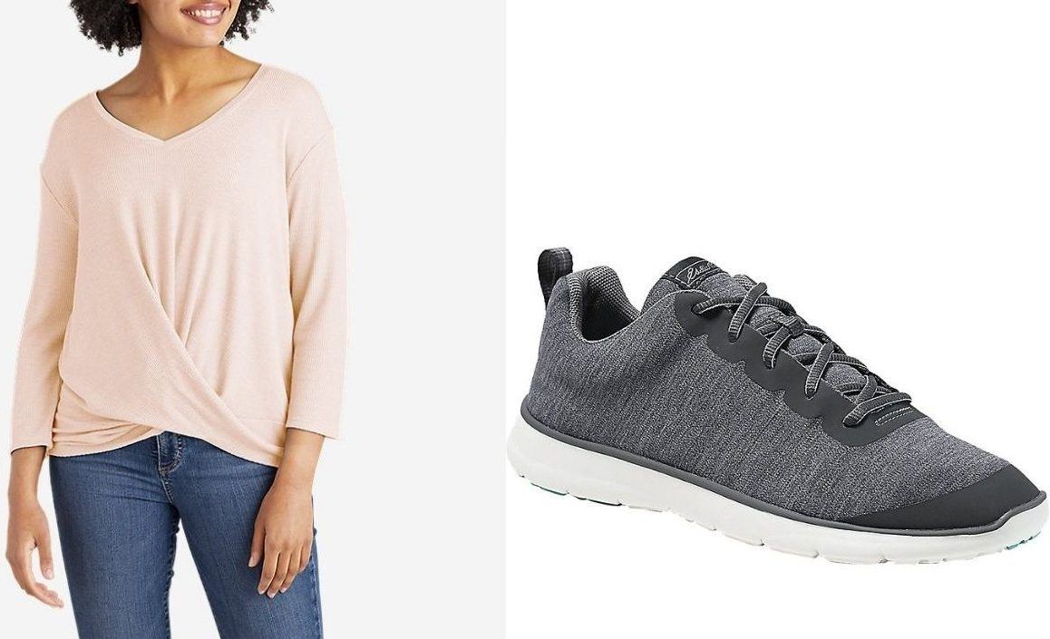 Eddie Bauer women's top and shoes