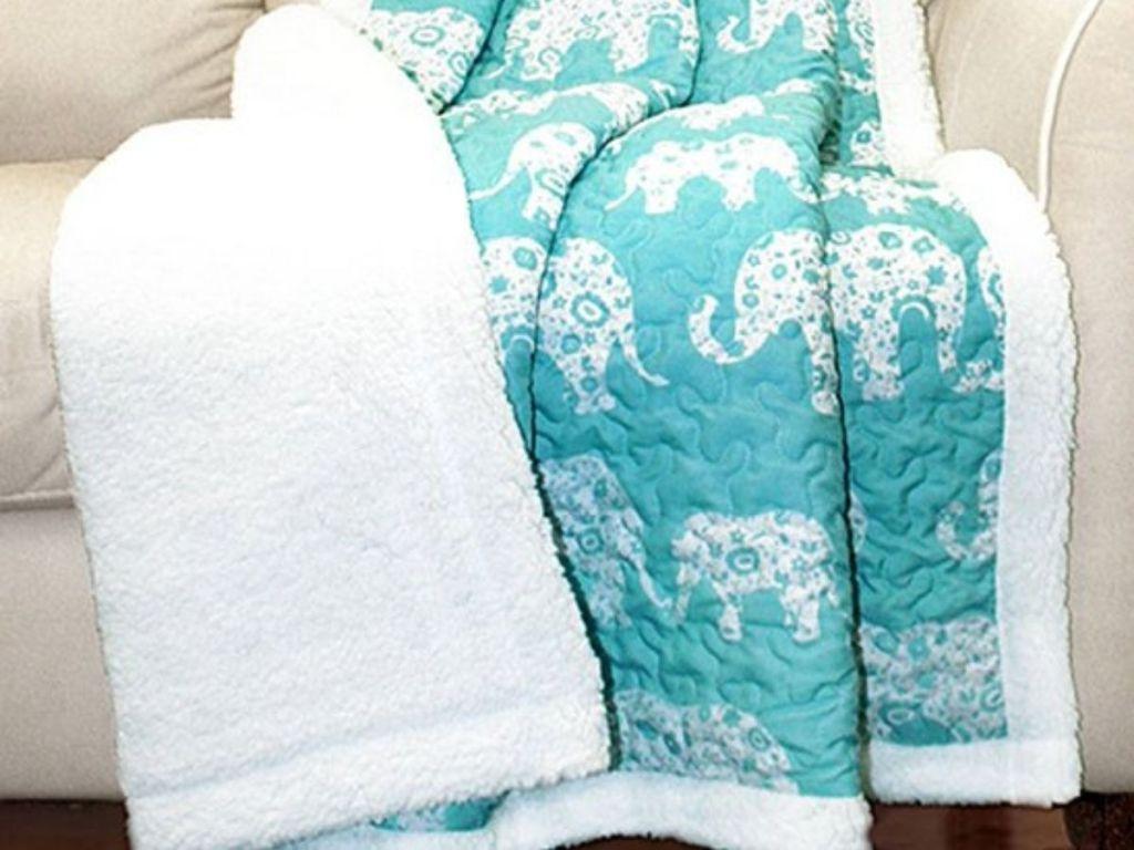 Elephant print sherpa blanket