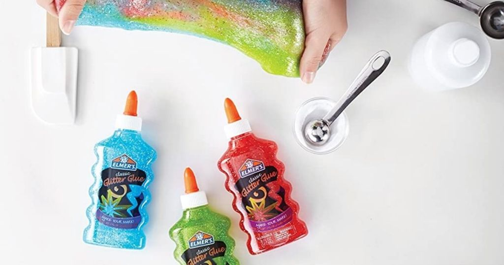person making and playing with Elmer's Rainbow Glitter Glue Starter Kit