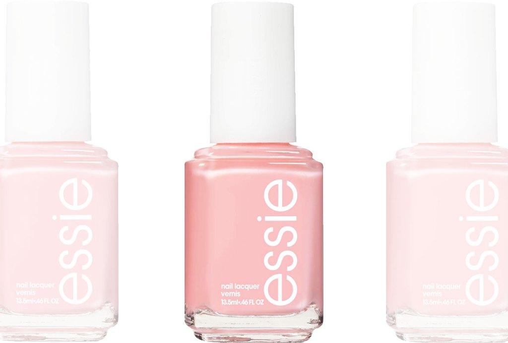 bottles of light pink essie nail polish