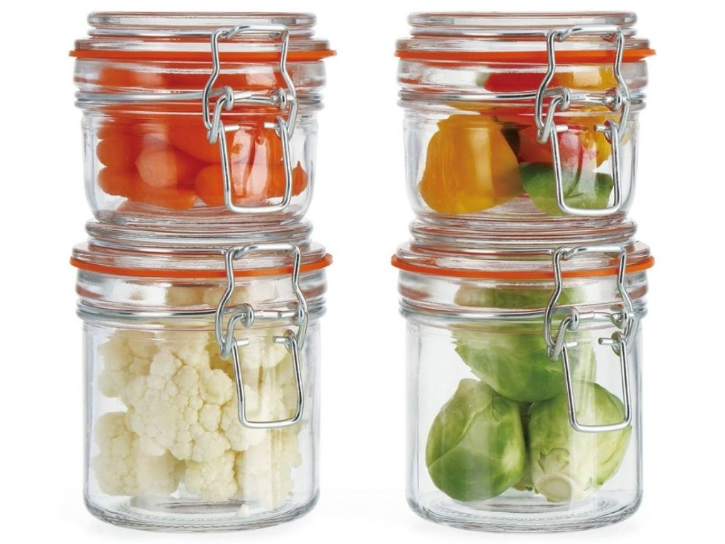 Euro-Home 4-pc Glass Canister Set filled with veggies