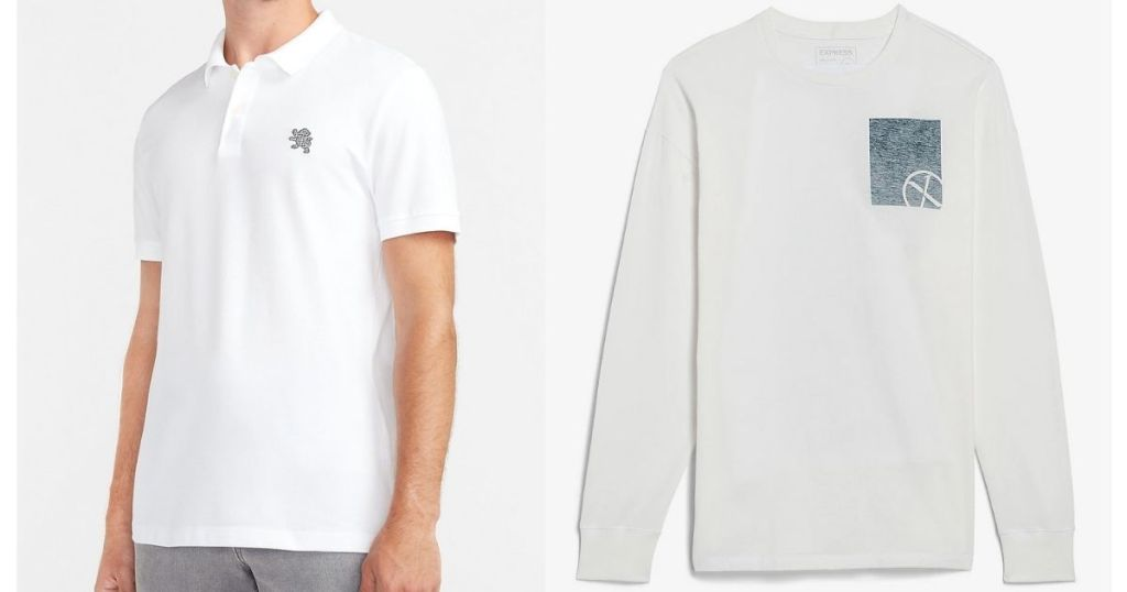 Express Men's Polo & LS T-shirt in white