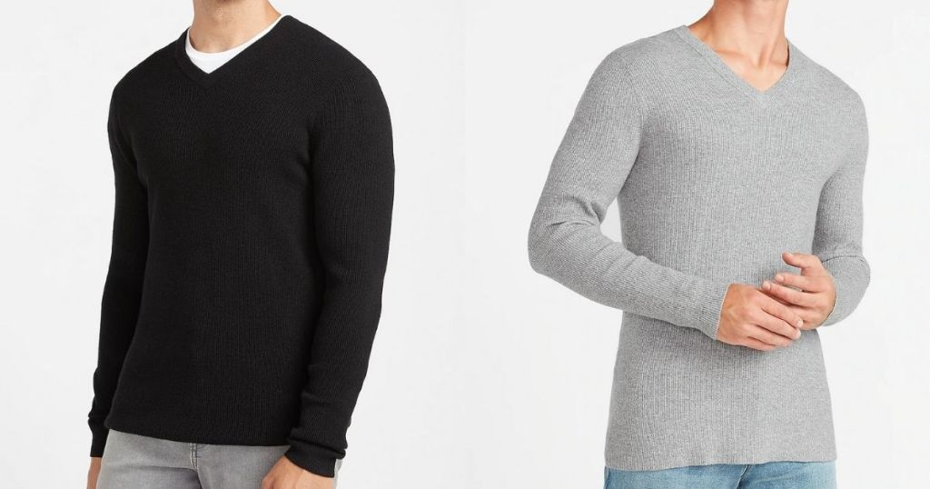Express Men's Vneck Sweater in black and gray