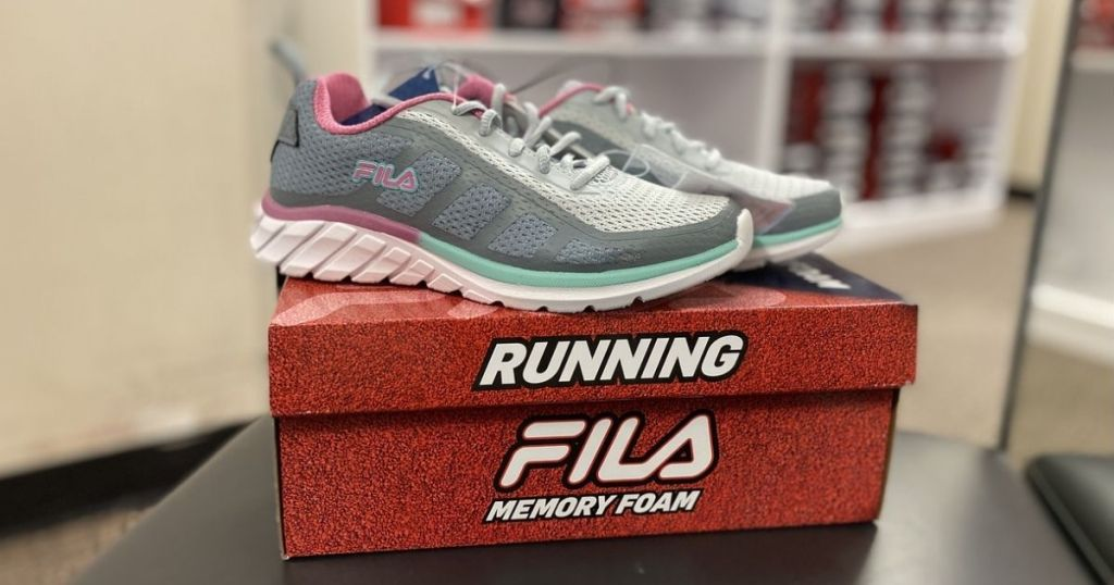 pair of Fila Women's Running Shoes on top of shoe box in-store