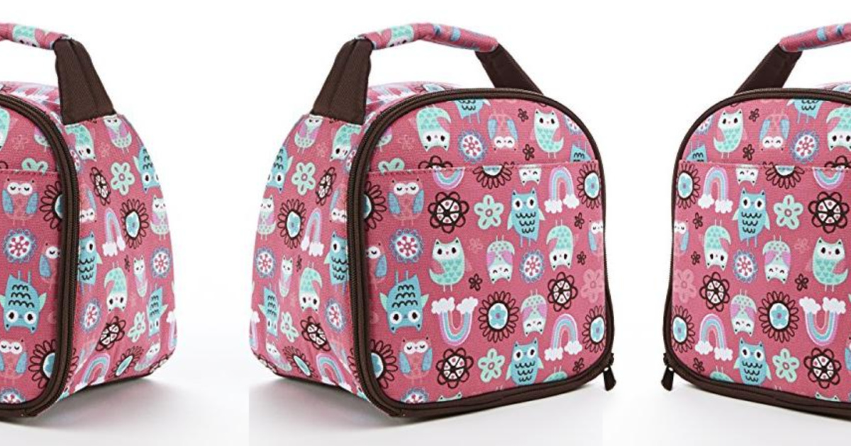 owl print kids insulated lunch bag