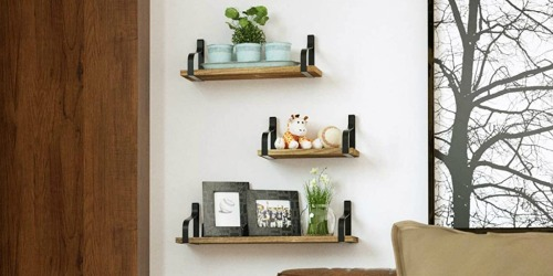 Rustic Floating Wall Shelves 3-Pack Just $16.99 on Amazon | Functional & Trendy