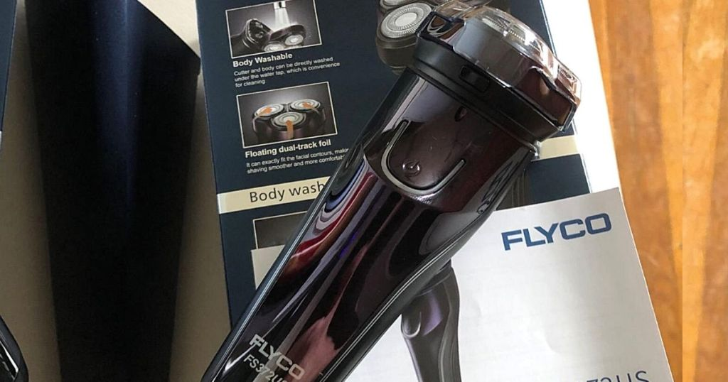 Flyco shaver and box behind it