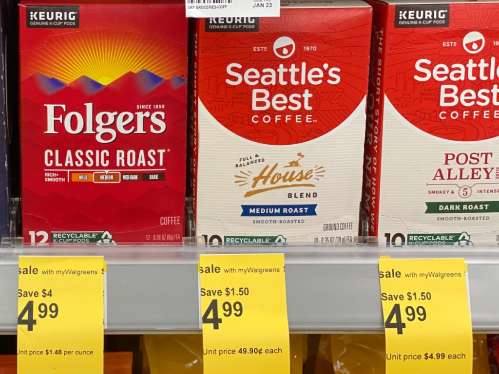 boxes of coffee pods on store shelf