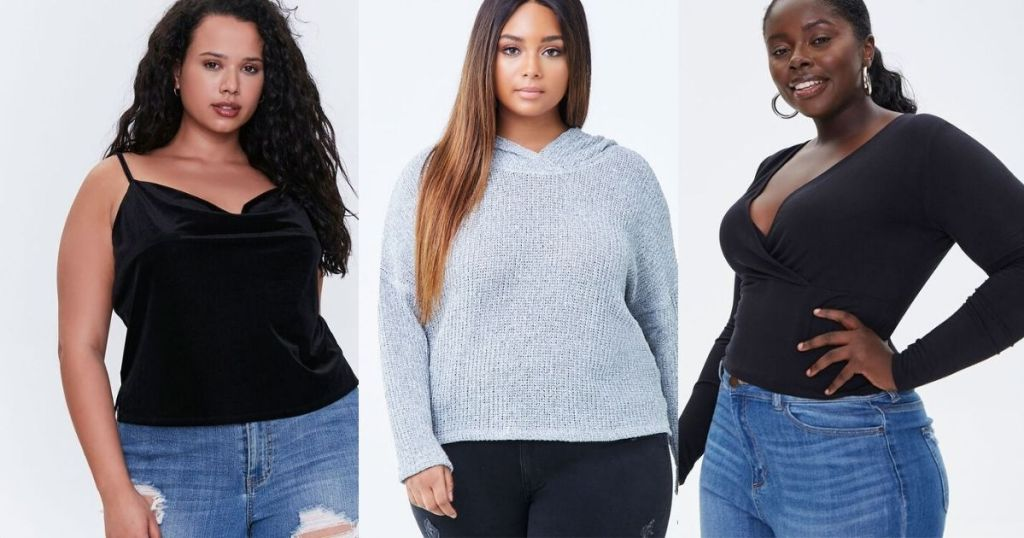 3 ladies in Forever 21 Plus Tops