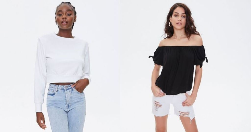 white and black Forever 21 Tops