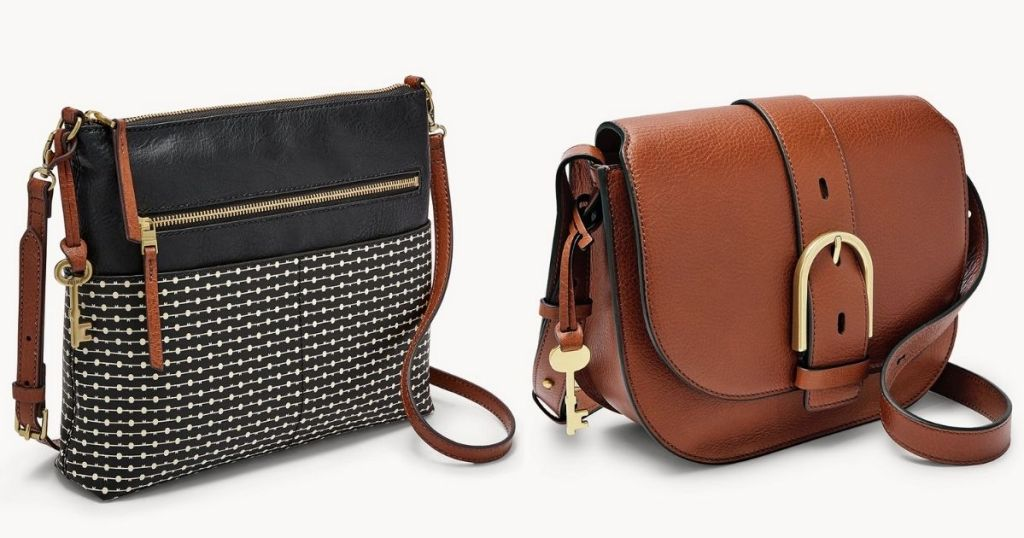 black and brown Fossil HandBags