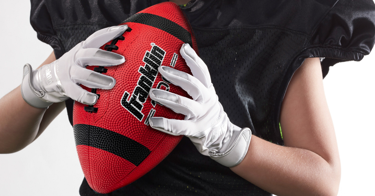 Franklin Sport Junior Size Grip-Rite 100 Rubber Football in Red