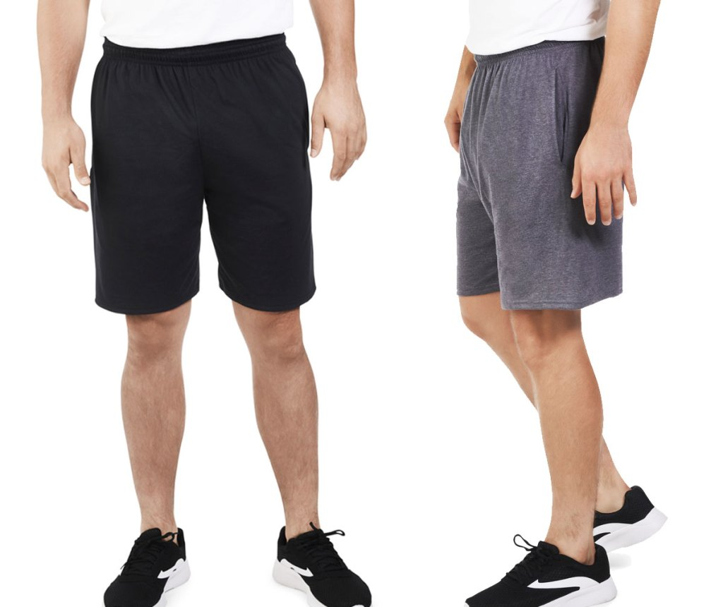two men modeling jersey shorts in black and grey colors