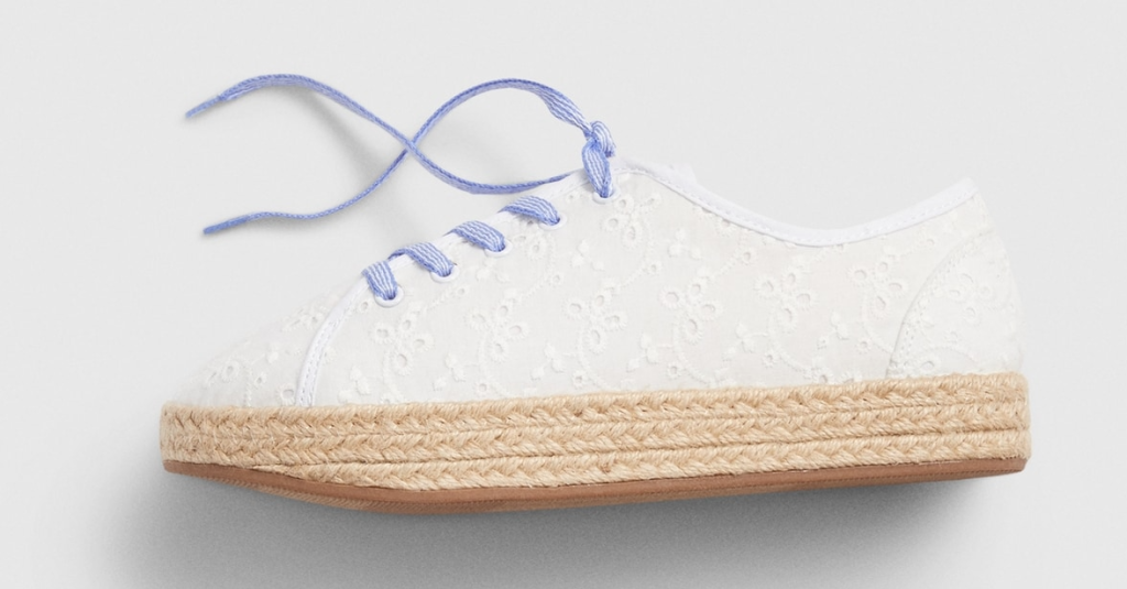 white and blue girls shoe