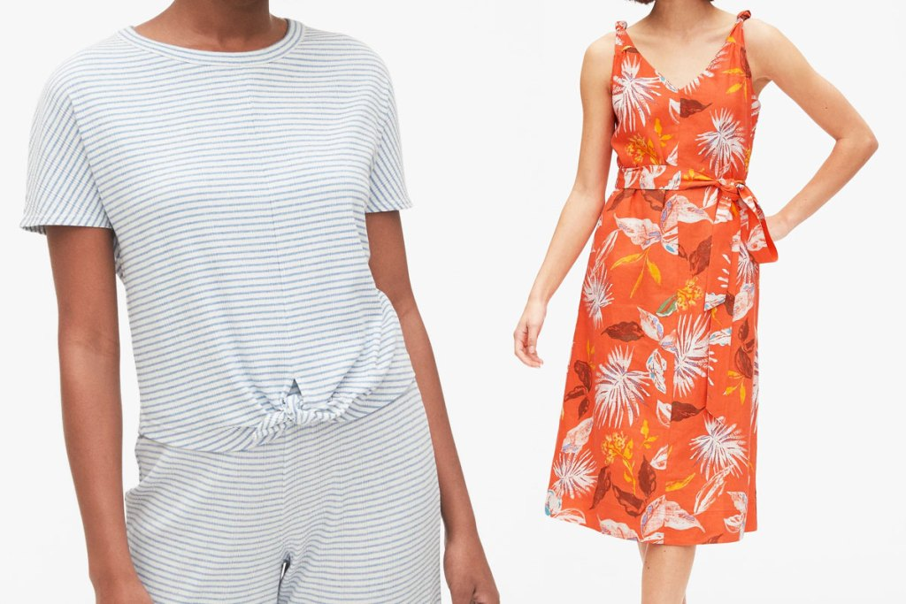 woman modeling and white and blue thin striped top and woman in an orange floral print dress