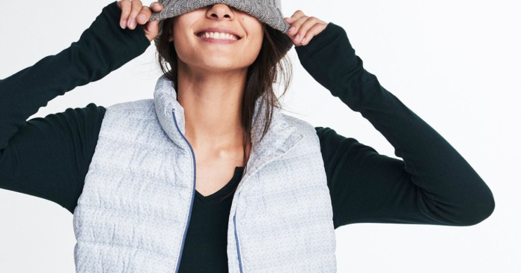 GAP outerwear woman wearing puffer vest