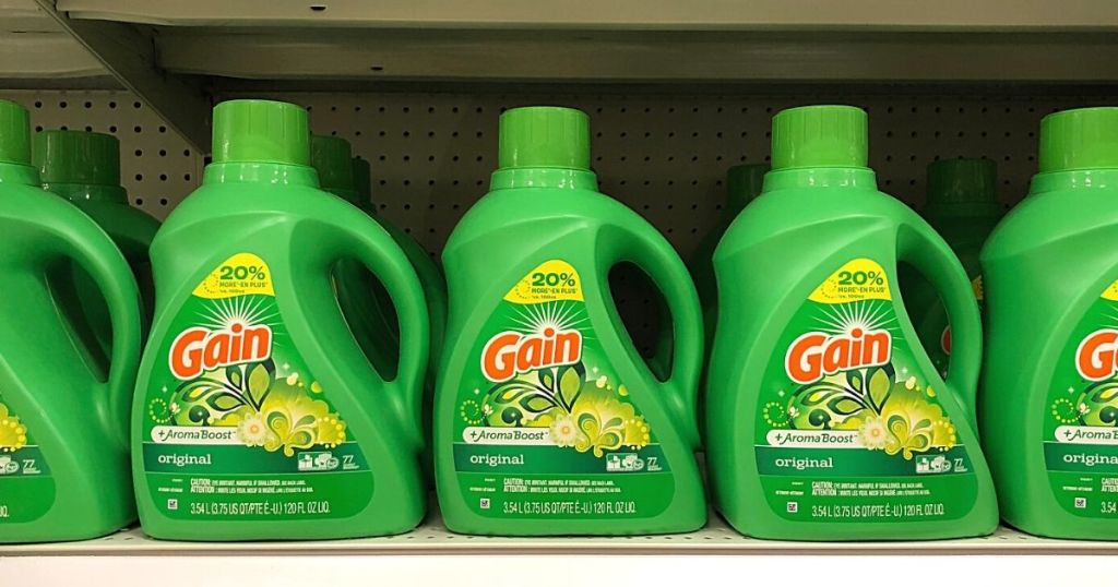 row of Gain laundry detergent on a shelf