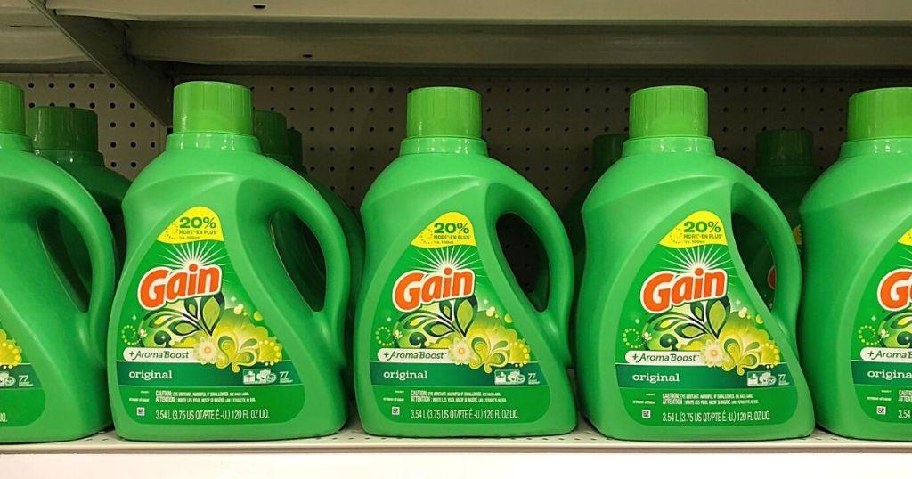 Gain laundry detergent on store shelf