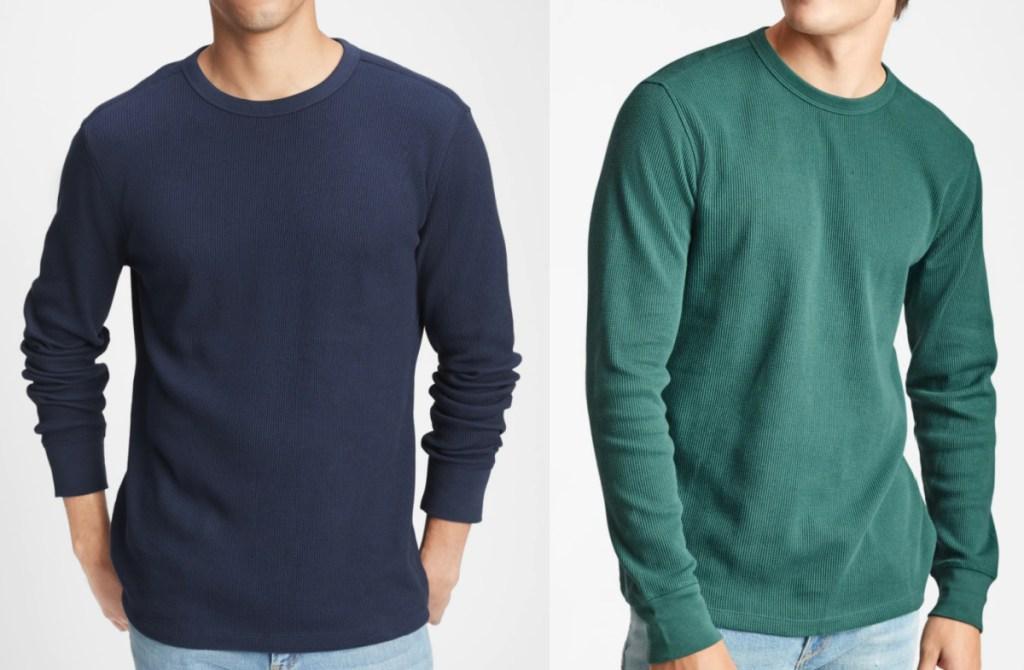 2 wearing gap factory waffle knit crew shirts