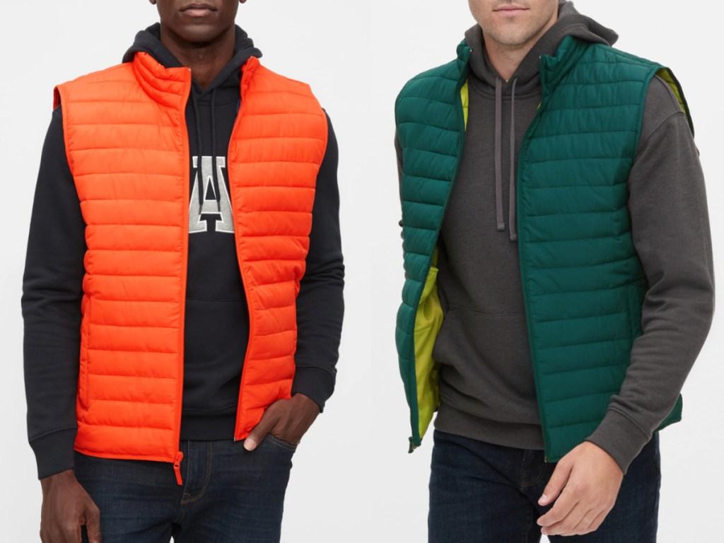 2 men wearing gap puffer vests
