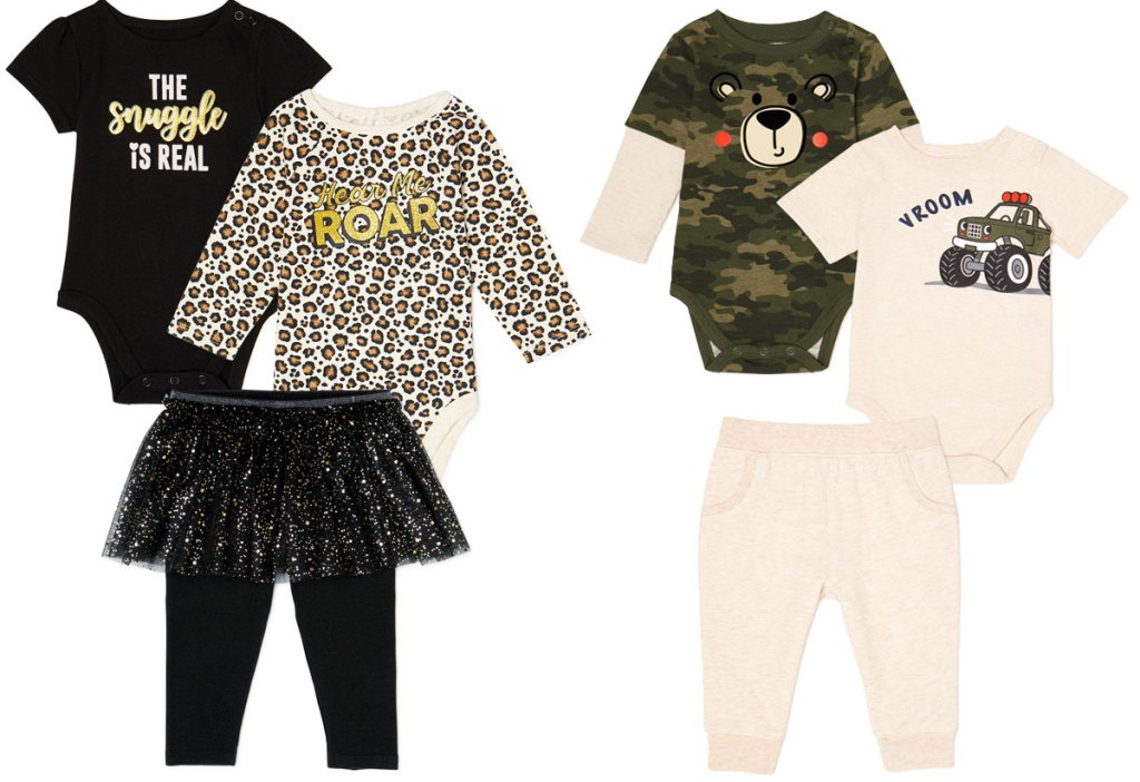 two 3-piece baby outfit sets with two tops and pair of pants
