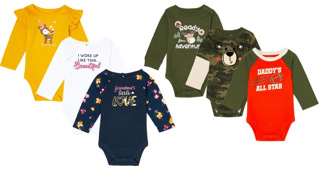 two 3-pack sets of long sleeve baby bodysuits