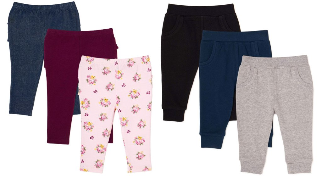 two 3-packs of baby girls leggings and boys jogger pants