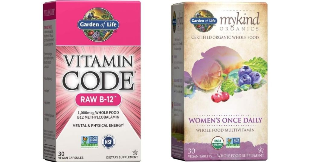 two boxes of Garden of Life vitamins