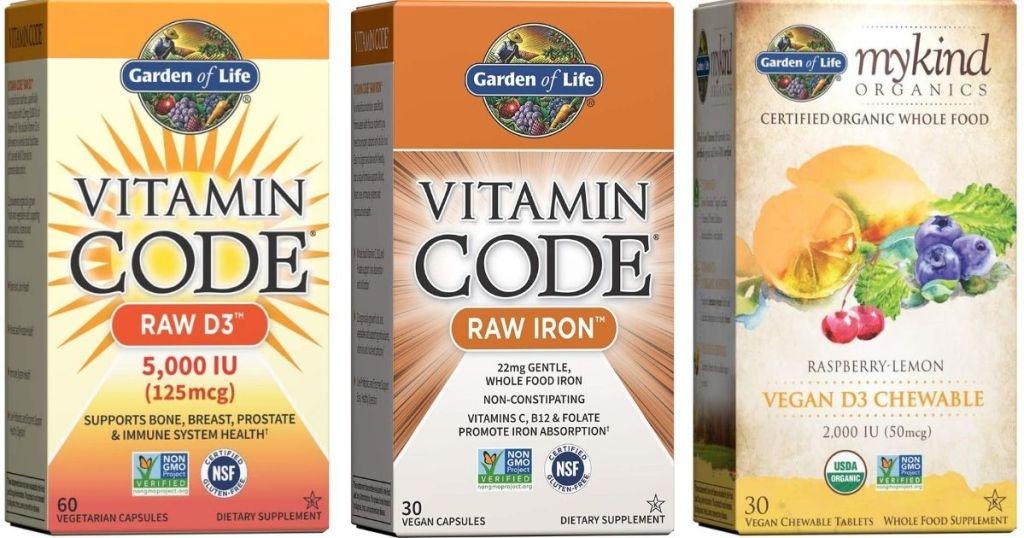 three boxes of vitamins