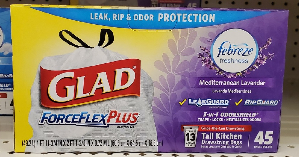 box of lavender-scented trash bags on store shelf