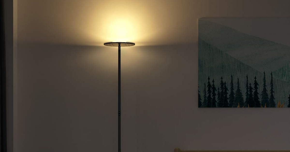 lamp with a picture next to it
