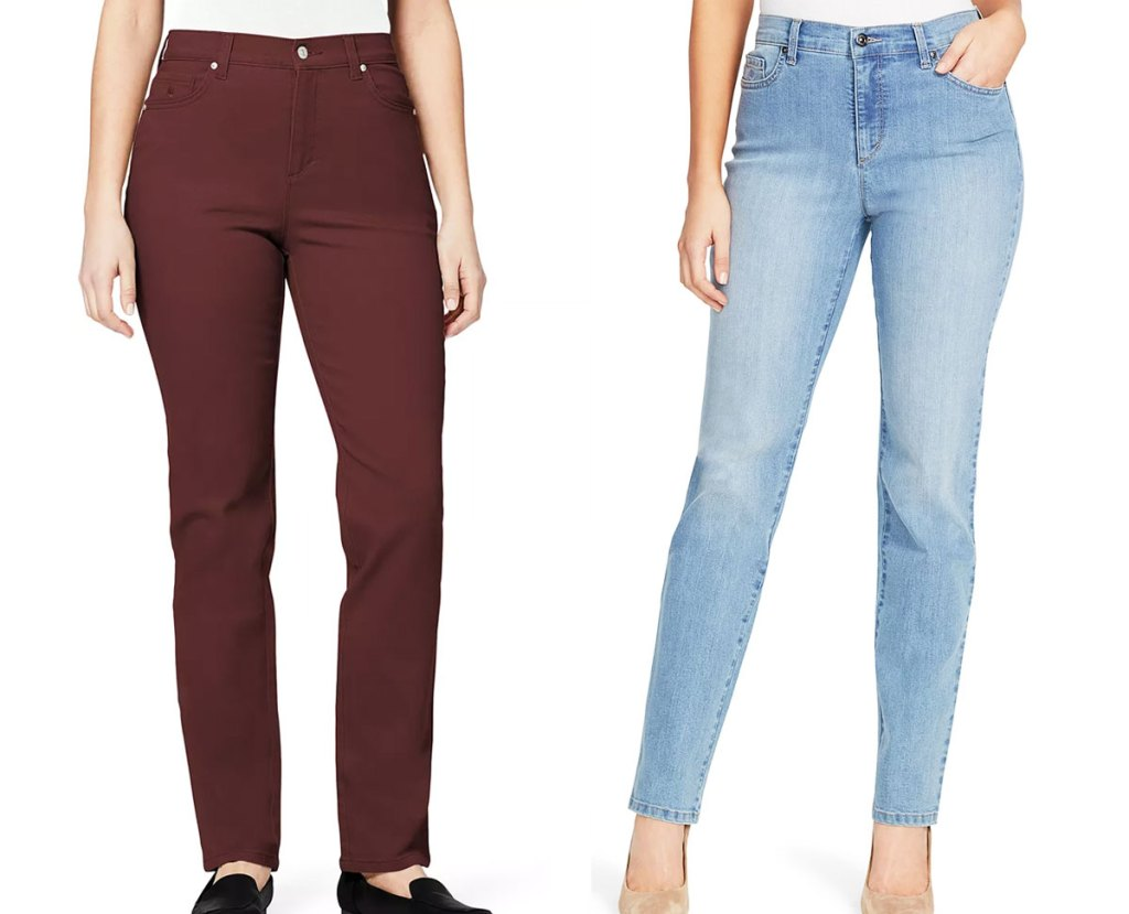 two women modeling jeans in light wash and a maroon color