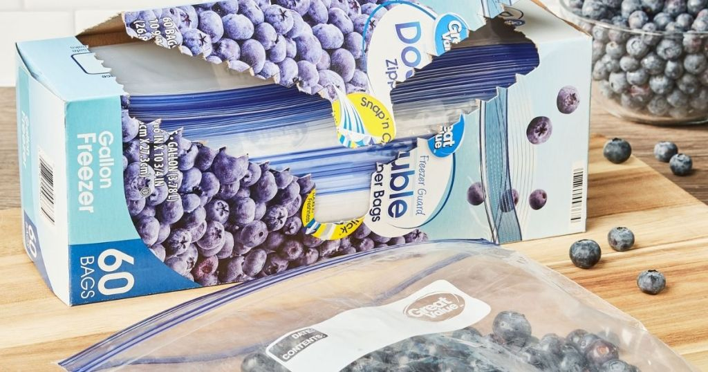 open Great Value Double Zipper 1-Gallon Freezer Bags with blueberries